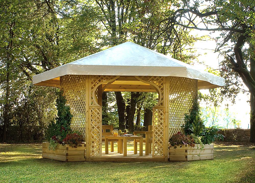 Legnolandia arredo giardino gazebo esagonale for Gazebo arredo giardino